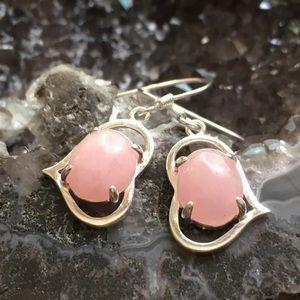 Jewelry - solid 925 Pink Jade gemstone love heart earrings